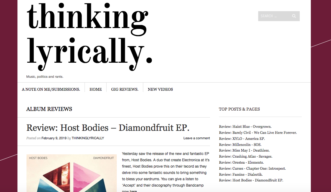 Thinking Lyrically Host Bodies Diamondfruit Review